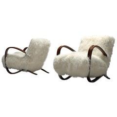 Exclusive Jindrich Halabala Lounge Chairs with Tibetan Lambswool