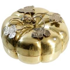 Lidded Brass Pumpkin Box, Italy, 1950s