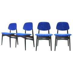 Midcentury Modern Blue Velvet Black Wood Italian Set Four Chairs, 1950