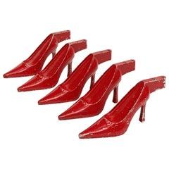 Set of Five x 1950s Red Metal High Heel Stiletto Shoe Display Pop Art