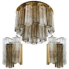 Set of J.T. Kalmar Murano Glass Light Fixtures, Austria, 1960