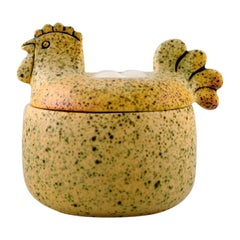 Rare Lisa Larson Lidded Jar in the Shape of Hen, Glazed Ceramics