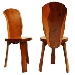 Pair of 1950s Yew Wood British Reynolds of Ludlow Chairs like Nakashima