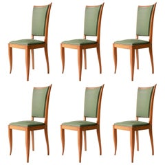 Art Deco Interwar Green Leatherette Wood Set of Six French Chairs, France 1940