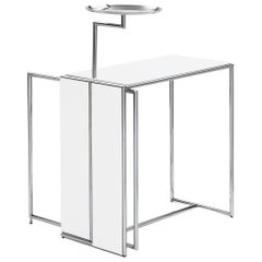 ClassiCon Rivoli Side Table in White and Steel by Eileen Gray