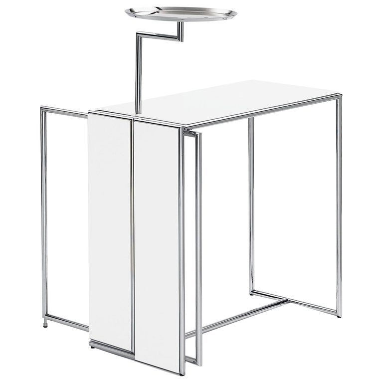 ClassiCon Rivoli Side Table in White and Steel by Eileen Gray For Sale