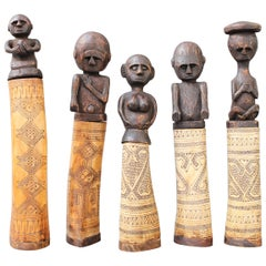 Set of Five Wood and Bone Lime Powder Holders for Betel Nut from West Timor