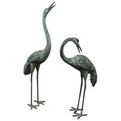 Pair of Big Vintage Green Patinated Bronze Sculptures of Crane Birds