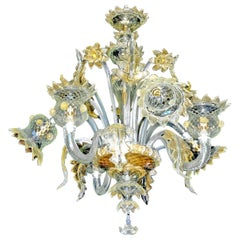 Luxury Vintage Italian Venetian Murano Gold Dusted Amber Glass Chandelier, 1980