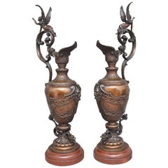 Pair of 19th Century Bronze and Marble Ewers