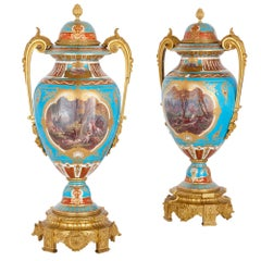 Two Gilt Bronze-Mounted Porcelain Vases with Hunting Paintings