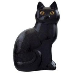 Lisa Larson for Gustavsberg, Stoneware Figure of Black Sitting Cat