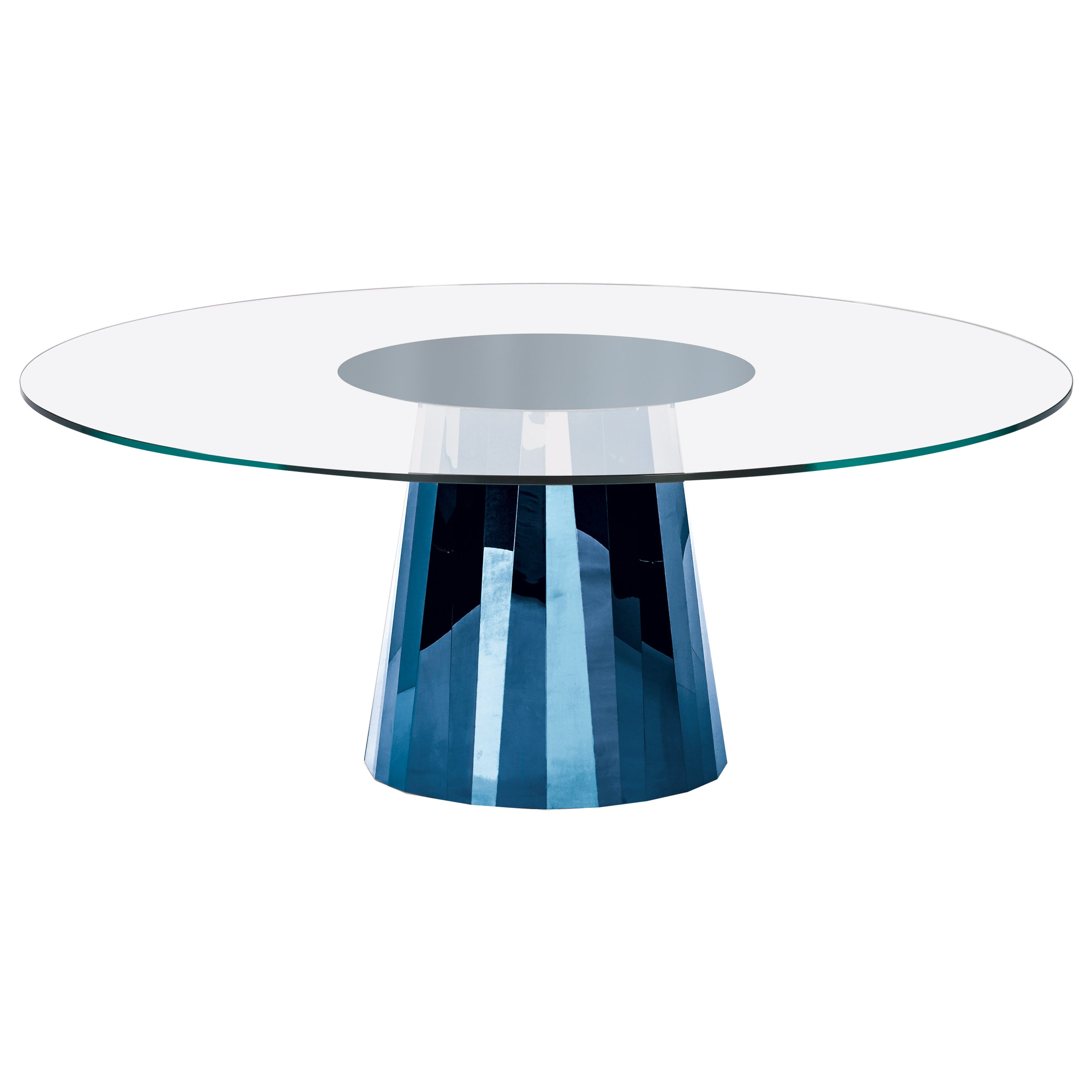 ClassiCon Pli Table in Blue with Crystal Glass Top by Victoria Wilmotte