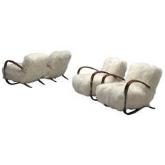Set of Four Exclusive Jindrich Halabala Lounge Chairs with Tibetan Lambswool