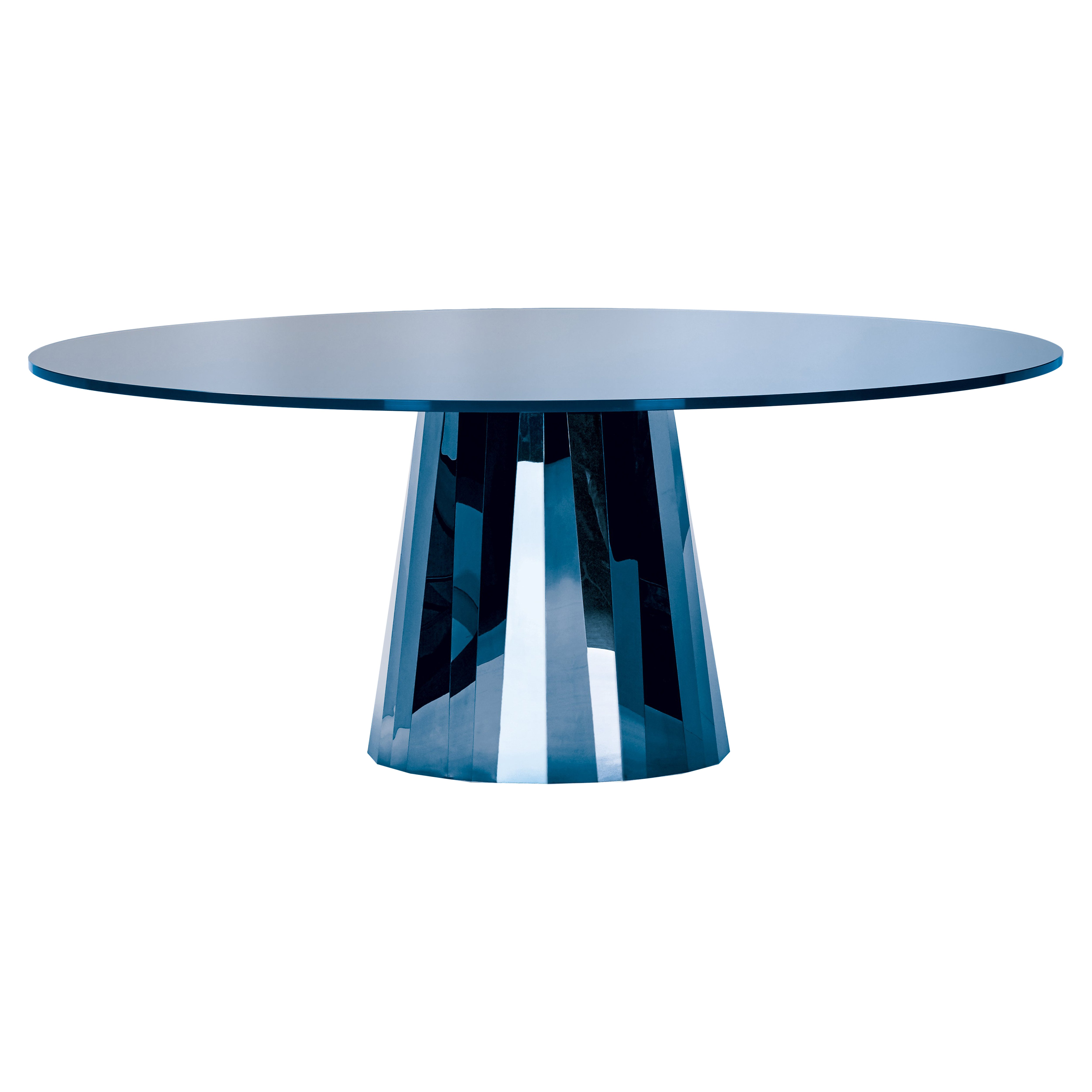 ClassiCon Pli Table in Blue with Lacquer Top by Victoria Wilmotte