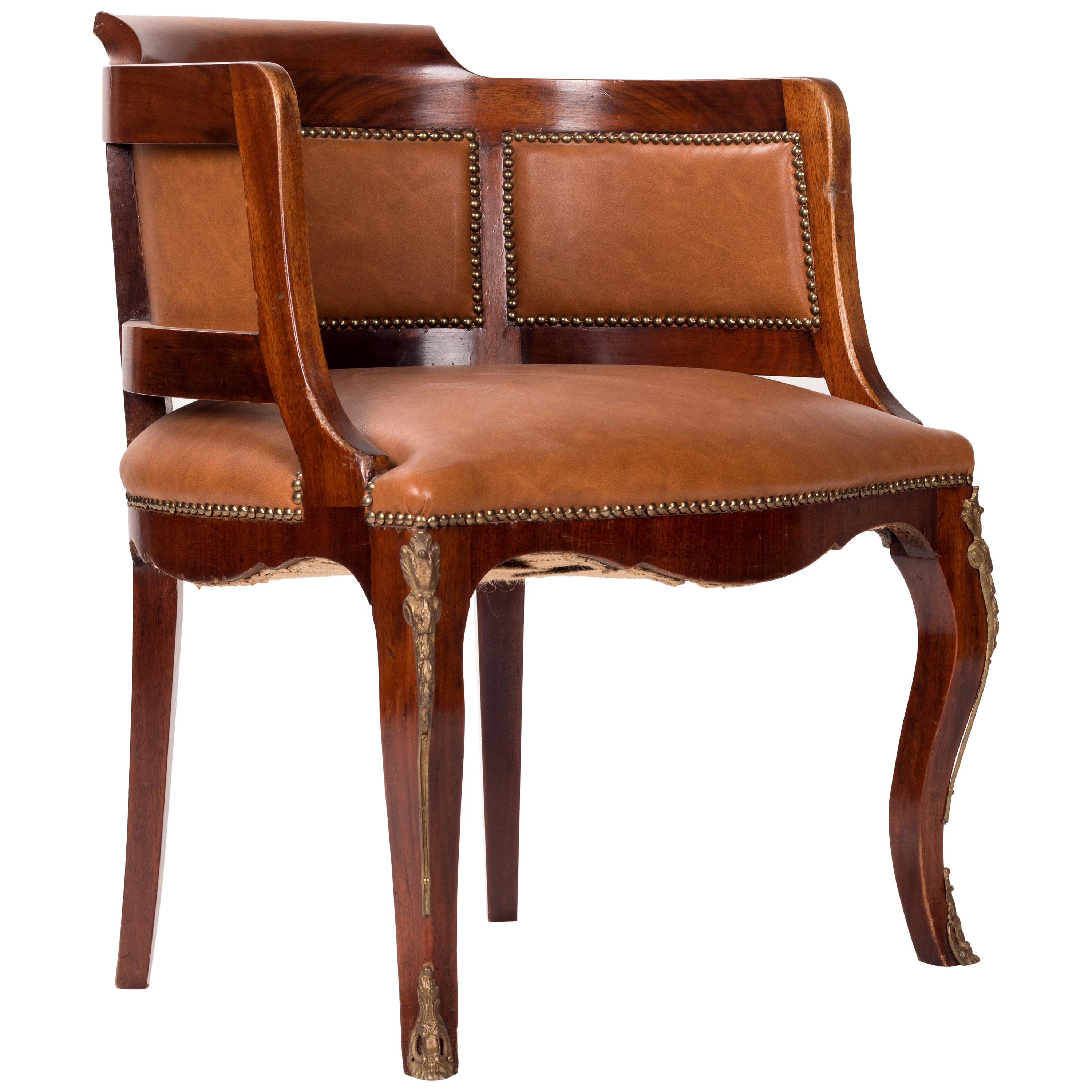 1980s French Leather Office Armchair with Brass Decorations