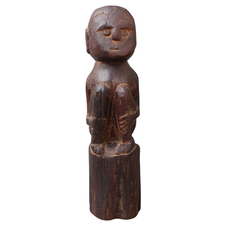Wooden Sculpture or Carving of Sitting Figure from Sumba Island, Indonesia For Sale