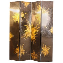 Italian 1970s Unusual Screen in Black Lacquer and Abstract Painting