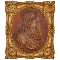 18th Century 'Cuir Bouili' Leather Portrait of Louis XIV