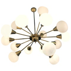 Italian Midcentury Brass and Opaline Murano Glass Large Sputnik Chandelier