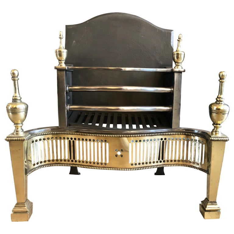 Georgian Style Steel and Brass Fire Grate For Sale