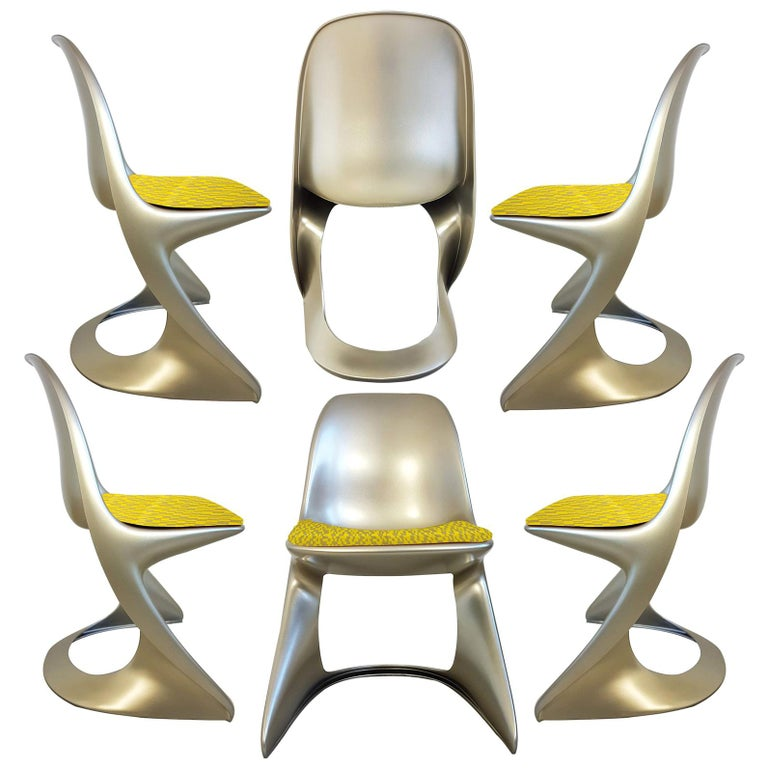 Limited Edition, Set of Six Metallic Ostergaard Space Age Chairs, 1970 For Sale