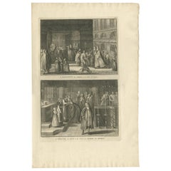 Antique Print of a Funeral Procession by Picart, circa 1725