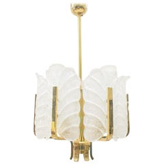 Carl Fagerlund Orrefors Chandelier Glass Leaves and Brass, Six-Light, Swedish