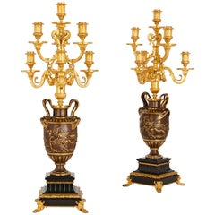 Neoclassical Style Marble, Gilt and Patinated Bronze Candelabra by Barbedienne