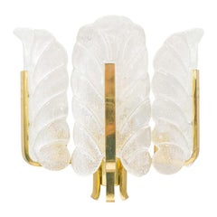 Rare Carl Fagerlund Orrefors Chandelier Glass Leaves and Brass Wall Lamp 1960s