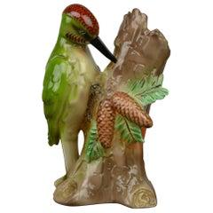 Art Deco Porcelain Perfume Light of a Woodpecker by Elka, Germany