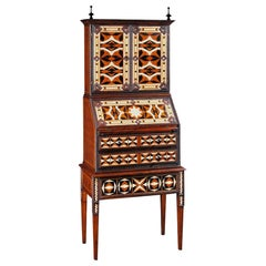 18th Century Antique Inspired French Secrétaire Hand-Painted in Walnut