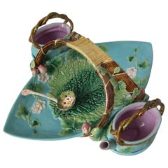 George Jones Majolica Strawberry Serving Set