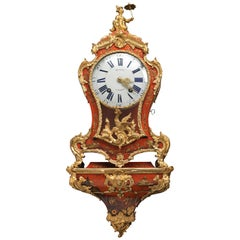 Louis XV Small Ormolu-Mounted Red Lacquer Bracket Clock, Pierre Musson, Paris