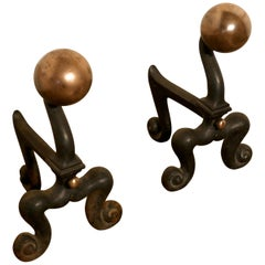 Chunky Pair of French 19th Century Brass and Iron Andirons or Fire Dogs