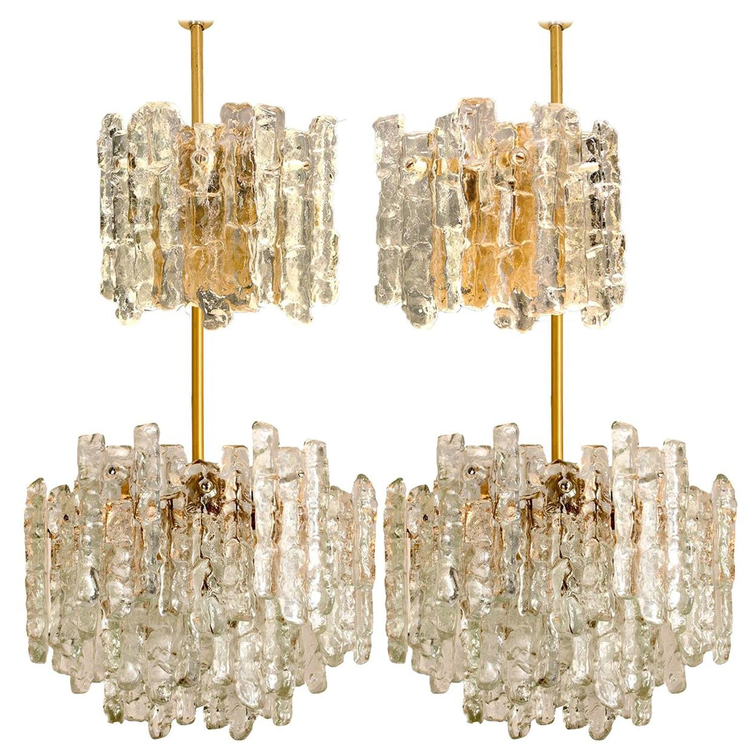 Set of four kalmar ice glass light fixtures two wall scones and two chandeliers for sale at 1stdibs