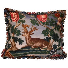 Black Forest Cushion Handmade Fringe Hunting Scene Sofina Boutique Kitzbühel
