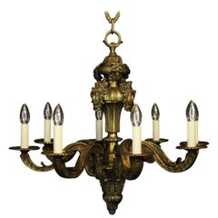 French 19th Century Bronze 8-Light Antique Chandelier