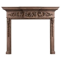 Carved English Pine Fireplace