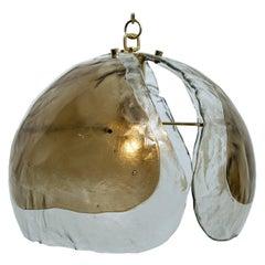 Kalmar Chandelier Pendant Light, Amber Glass and Brass, 1970s