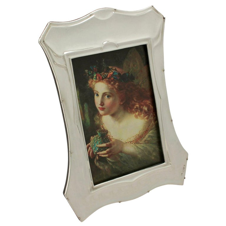 Antique Art Nouveau Style English Sterling Silver Photograph Frame For Sale