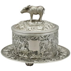 Antique Chinese Export Silver Covered Serving Dish
