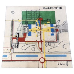 Le Corbusier Chandigarh Capitol Map Wool Rug