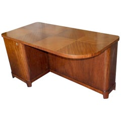 Swedish Art Moderne Desk in Flame Mahogany with Built-In Bookcase, circa 1940