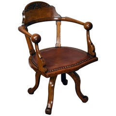 19th Century English Victorian Solid Oak Desk Chair