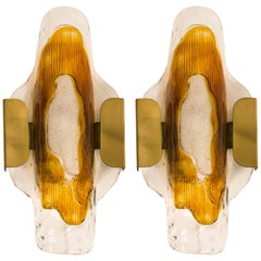 Pair of Handblown Murano Glass Wall Lights or Scones by J.T. Kalmar, 1970s
