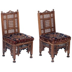 19th Century Pair of Turkish Richly Decorated Hand Carved Wooden Chairs