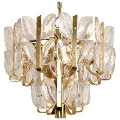 "Kalmar Chandelier or Pedant Light ""Florida"", Crystal Glass and Brass, 1970"