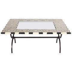 Italian 1980s Black and White Marble-Top Table with Iron Legs