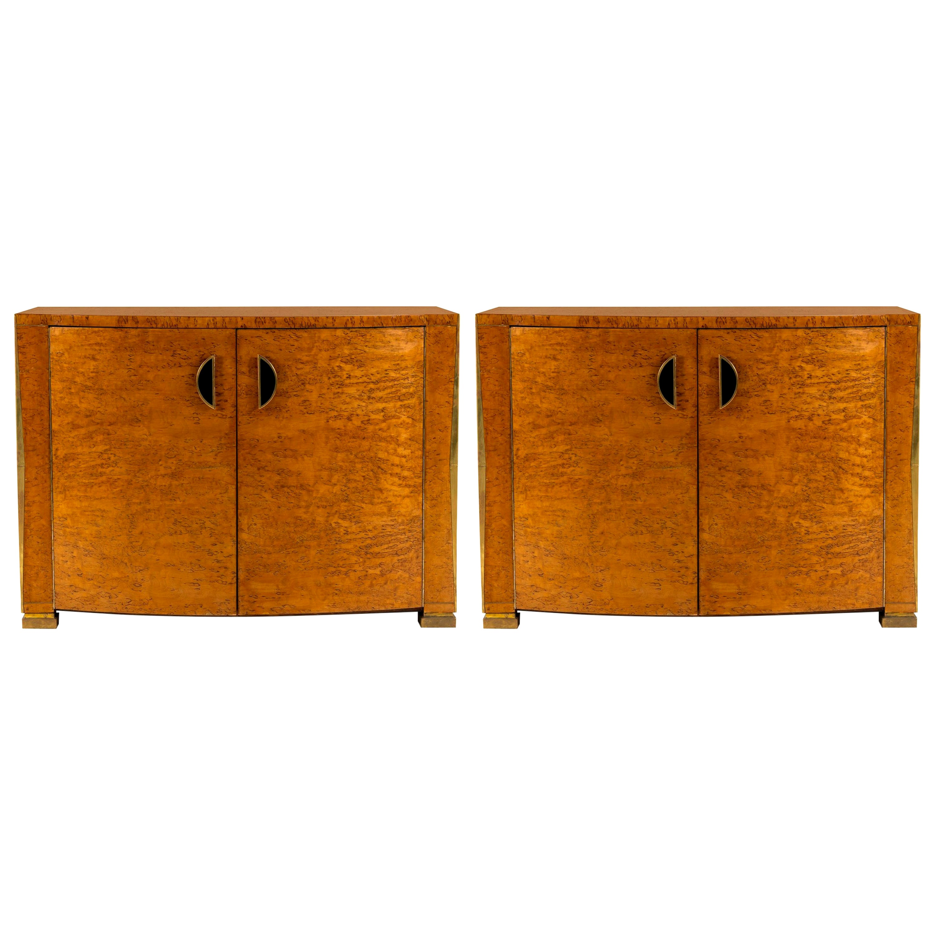 Pair of Art Deco Burl Wood Cabinets